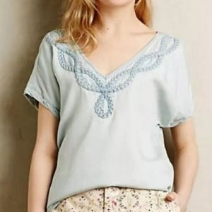 Anthropologie Holding Horses Braided Chambray Top